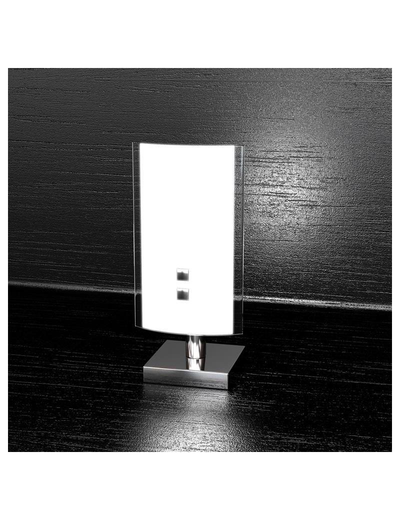 TOP LIGHT: Linear lume lumetto moderno vetro curvo serigrafato bianco bordi laterali trasparenti in