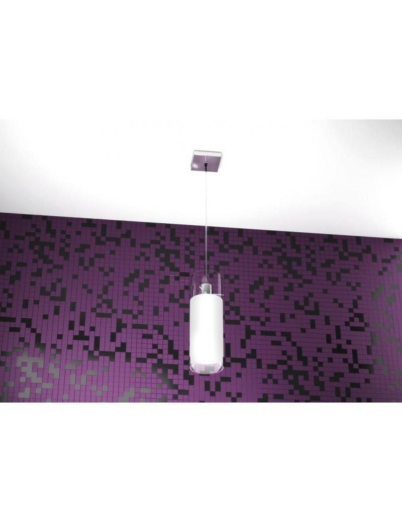 TOP LIGHT: Cilinder sospensione a barra con 1 luce forma cilindro vetro bianco pirex in offerta