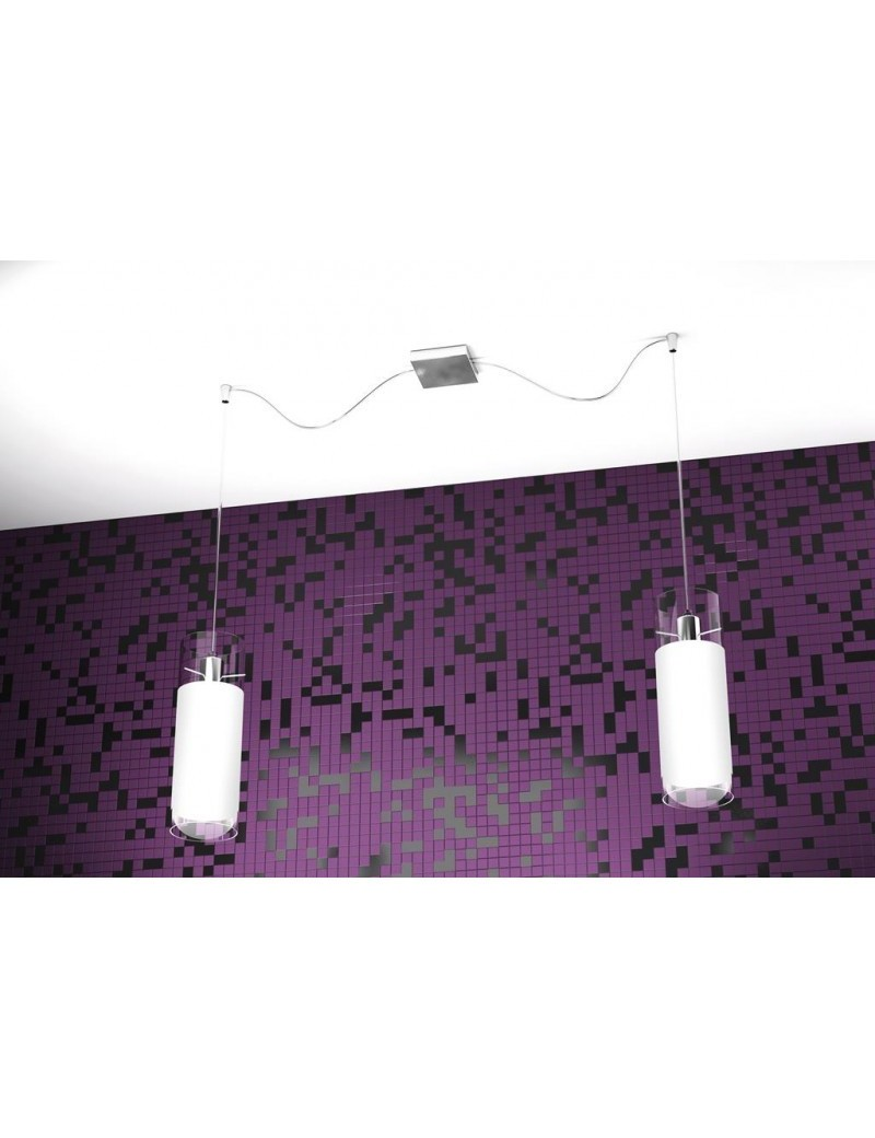 TOP LIGHT: Cilinder sospensione regolabile con 2 luci forma cilindro vetro bianco pirex in offerta