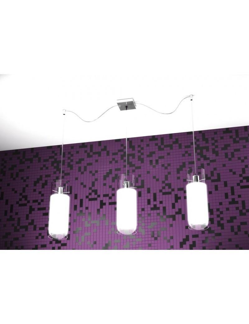 TOP LIGHT: Cilinder sospensione regolabile con 3 luci forma cilindro vetro bianco pirex in offerta