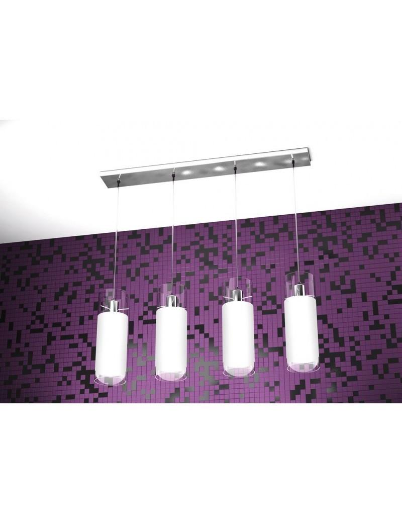 TOP LIGHT: Cilinder sospensione a barra con 4 luci forma cilindro vetro bianco pirex in offerta