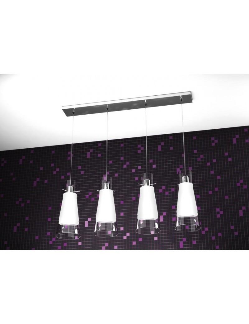 TOP LIGHT: Cone sospensione a barra di forma conica cono in pirex satinato bianco 4 luci in offerta