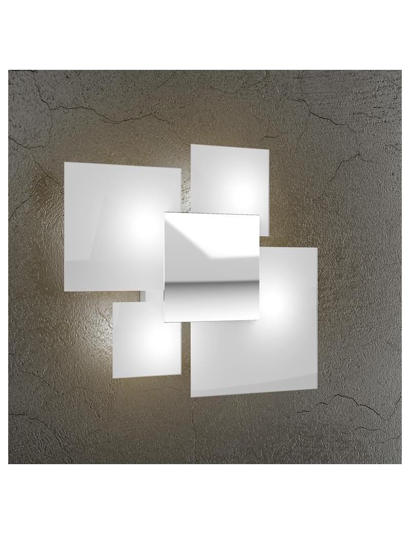 TOP LIGHT: Shadow applique parete bianca 4 luci moderna lastra extrachiaro metallo verniciato in