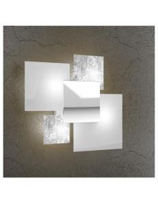 Shadow applique parete foglia argento moderno lastra extrachiaro metallo verniciato