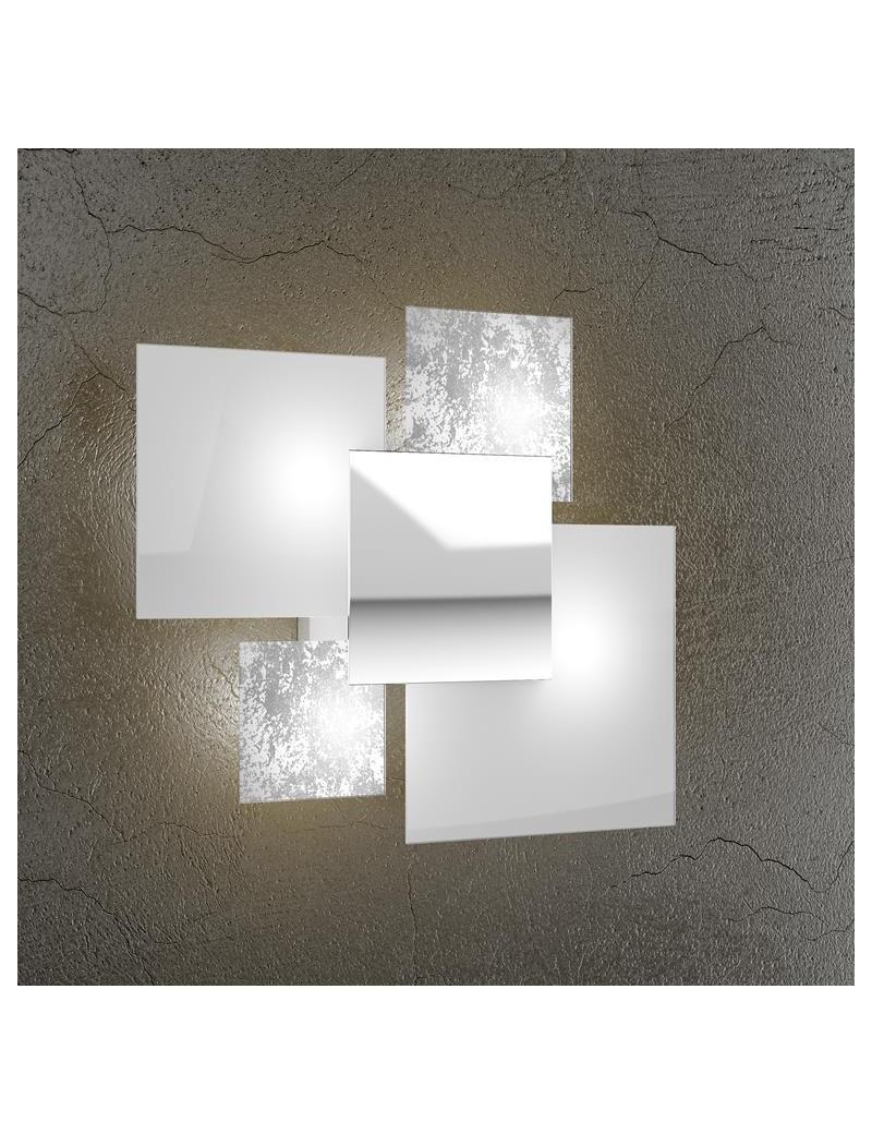 TOP LIGHT: Shadow applique parete foglia argento moderno lastra extrachiaro metallo verniciato in