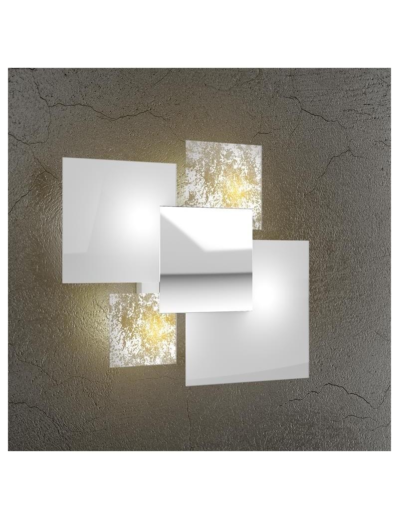 TOP LIGHT: Shadow applique parete foglia oro lastra extrachiaro metallo verniciato in offerta