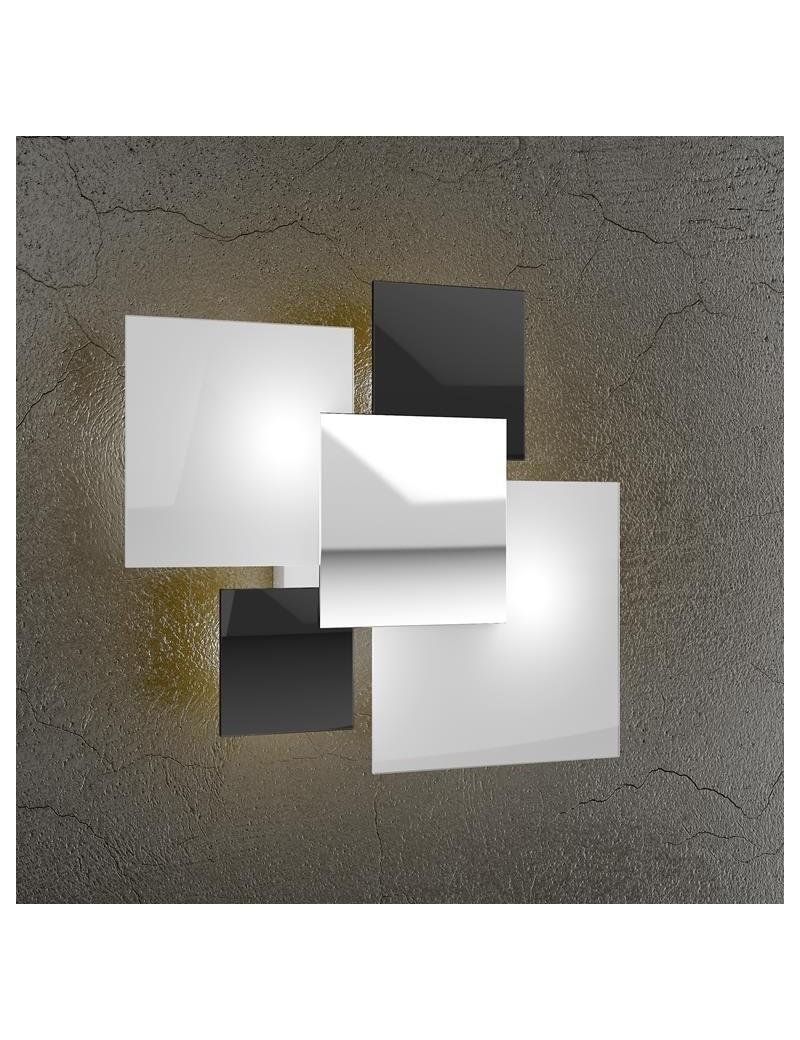 TOP LIGHT: Shadow applique parete nero moderno lastra extrachiaro metallo verniciato in offerta