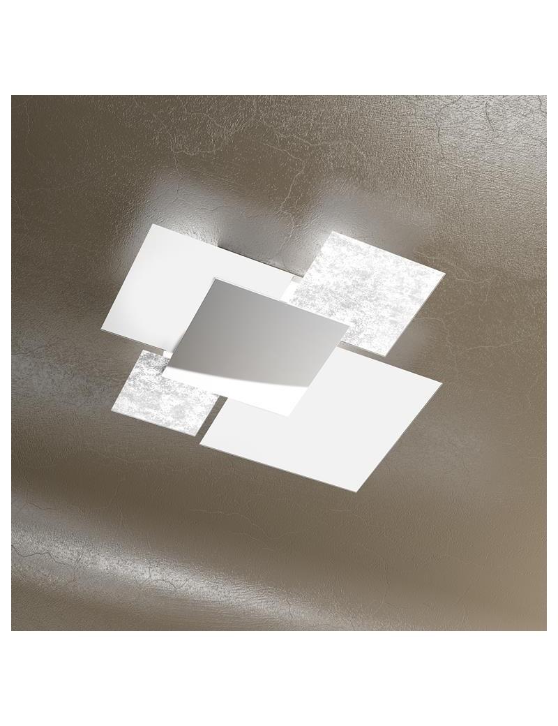 TOP LIGHT: Shadow foglia argento plafoniera soffitto lastra frontale lucida in acciaio media in