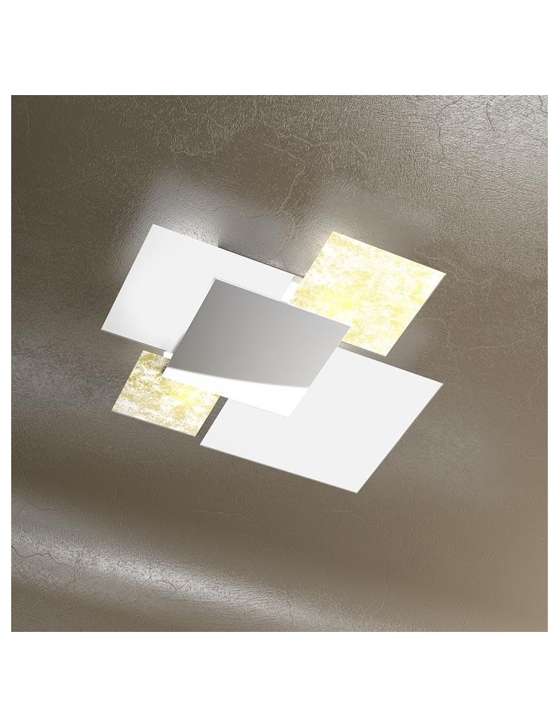 TOP LIGHT: Shadow foglia oro plafoniera soffitto lastra frontale lucida in acciaio media in offerta
