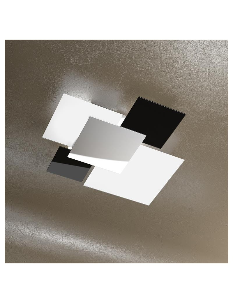 TOP LIGHT: Shadow media nera plafoniera soffitto lastra frontale lucida in acciaio in offerta