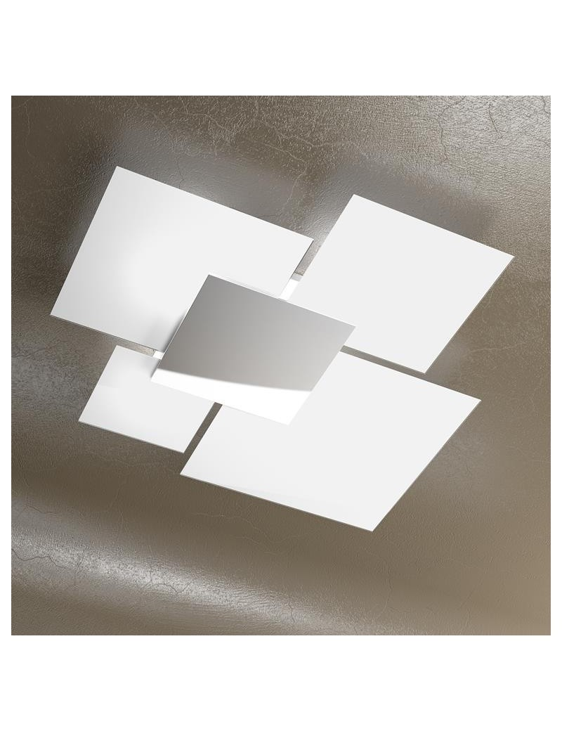 TOP LIGHT: Shadow plafoniera lastra frontale lucida in acciaio grande bianca in offerta