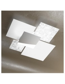 Shadow grande foglia argento plafoniera soffitto lastra frontale lucida in acciaio