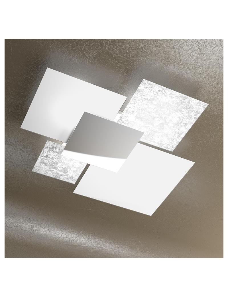 TOP LIGHT: Shadow grande foglia argento plafoniera soffitto lastra frontale lucida in acciaio in
