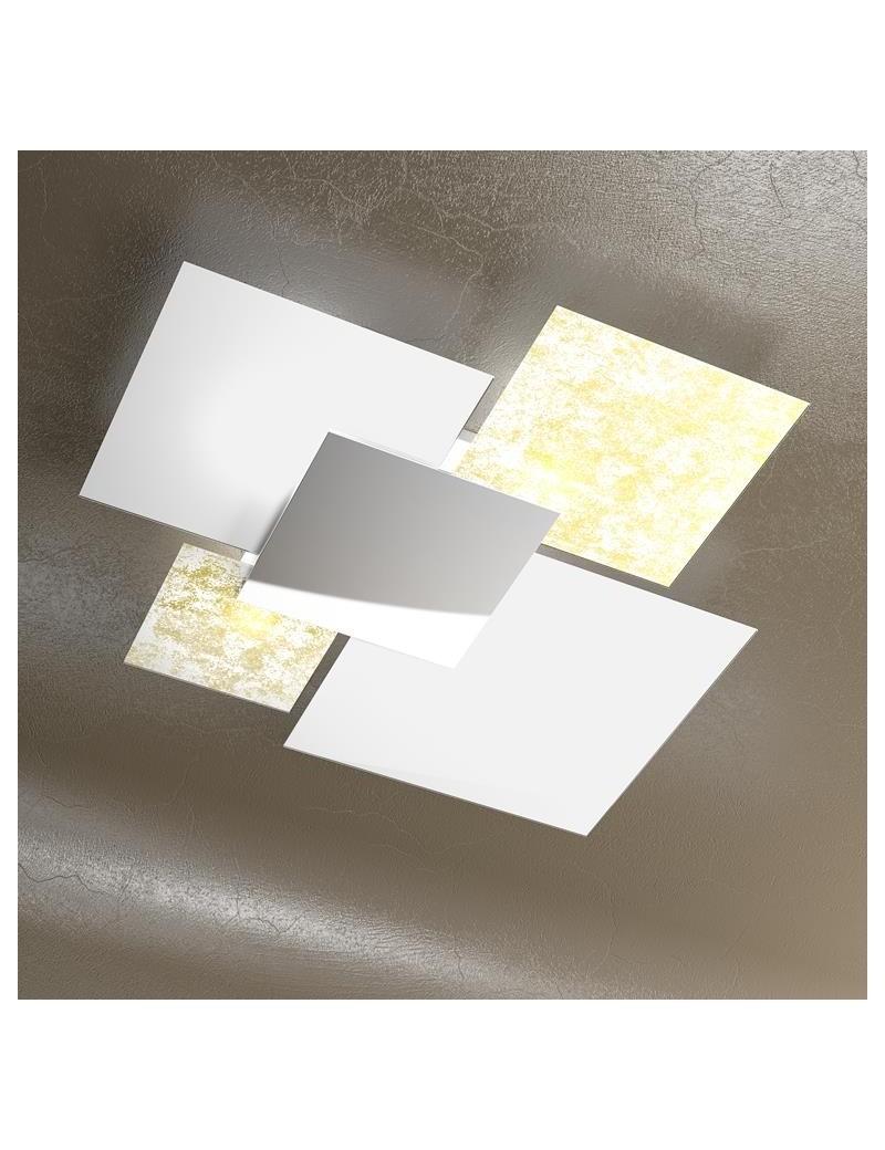 TOP LIGHT: Shadow grande foglia oro plafoniera soffitto lastra frontale lucida in acciaio in offerta