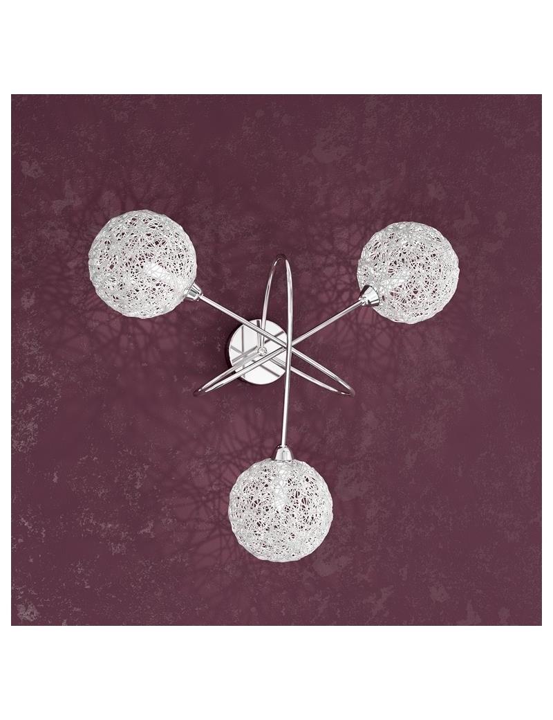 TOP LIGHT: Willow applique a 3 sfere gomitoli di alluminio con montatura metallo in offerta