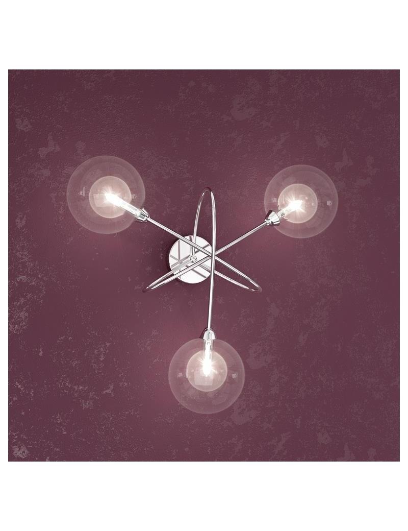 TOP LIGHT: Willow applique a 3 sfere trasparenti con montatura metallo moderno in offerta