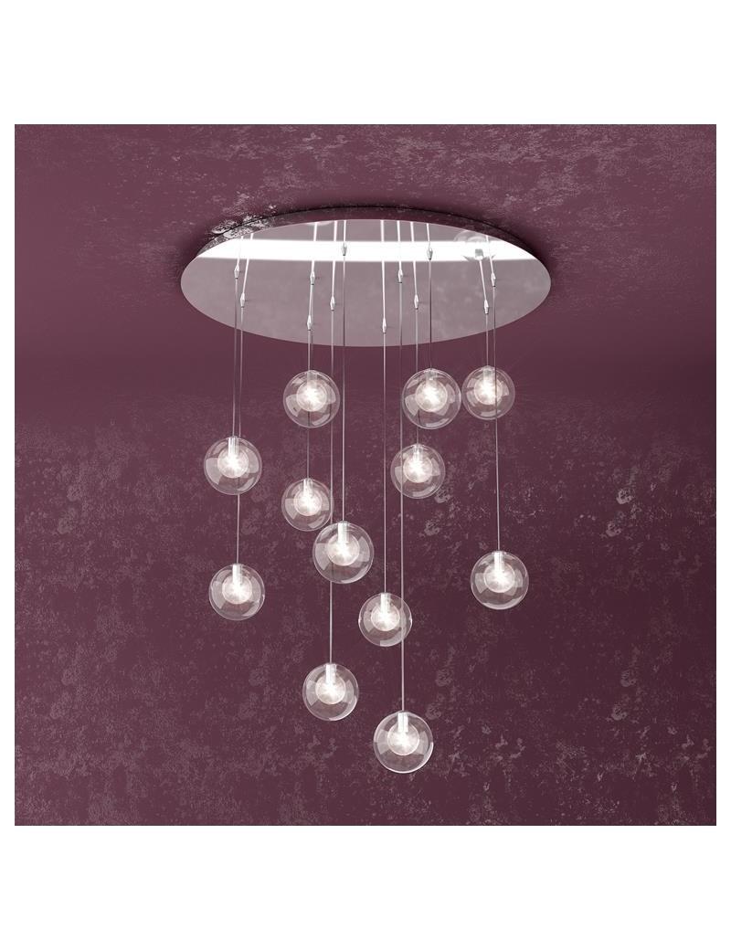 TOP LIGHT: Willow sospensione con 12 sfere e luci di colore trasparente in offerta