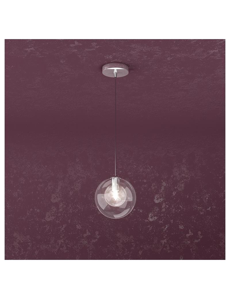 TOP LIGHT: Willow sospensione ad 1 luce con sfera di colore trasparente moderno in offerta