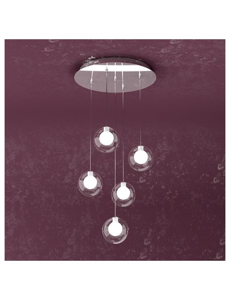 TOP LIGHT: Willow sospensione con 5 sfere e luci di colore bianco in offerta