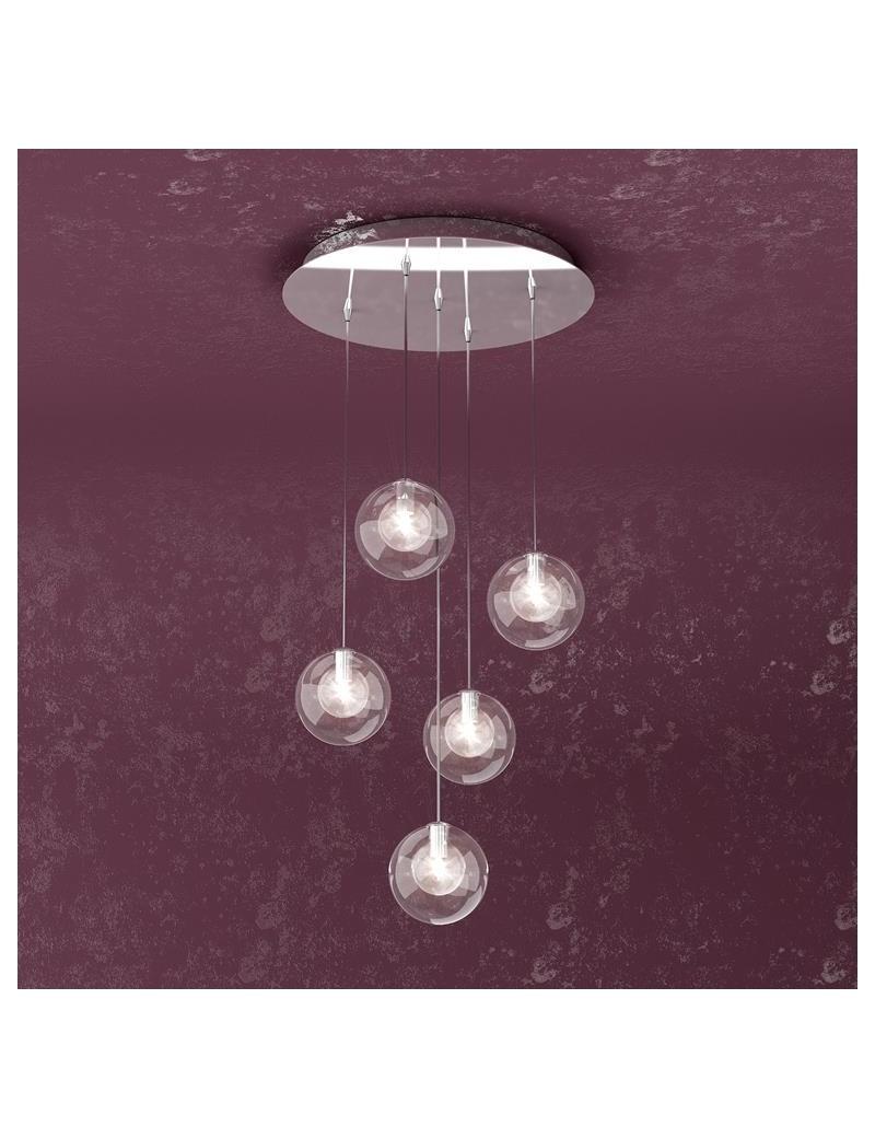 TOP LIGHT: Willow sospensione con 5 sfere e luci di colore trasparente in offerta