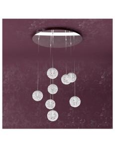 Willow sospensione con 8 sfere e luci gomitoli di alluminio