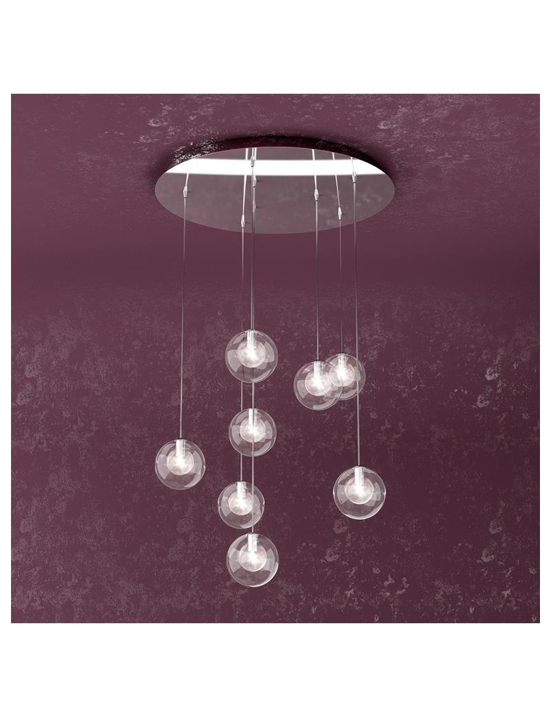 TOP LIGHT: Willow sospensione con 8 sfere e luci di colore trasparente in offerta
