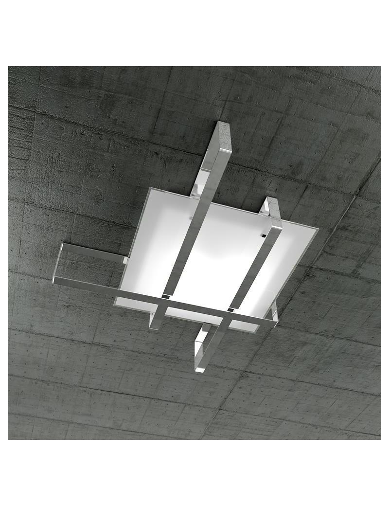 TOP LIGHT: Cross plafoniera con fascia decorativa cromo in offerta