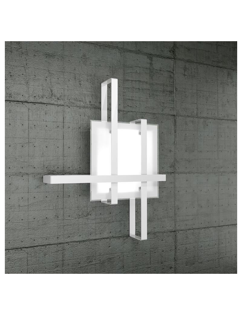 TOP LIGHT: Cross plafoniera soffitto fascia bianca con diffusore in vetro in offerta
