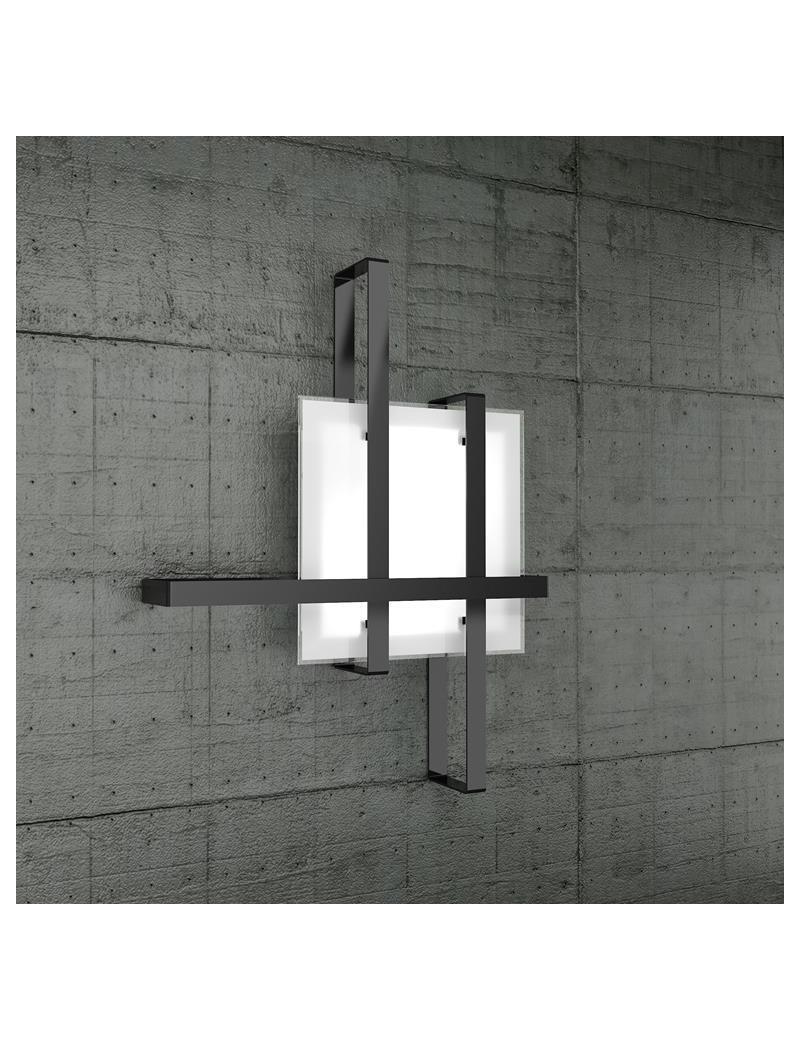 TOP LIGHT: Cross plafoniera soffitto fascia nero con diffusore in vetro in offerta
