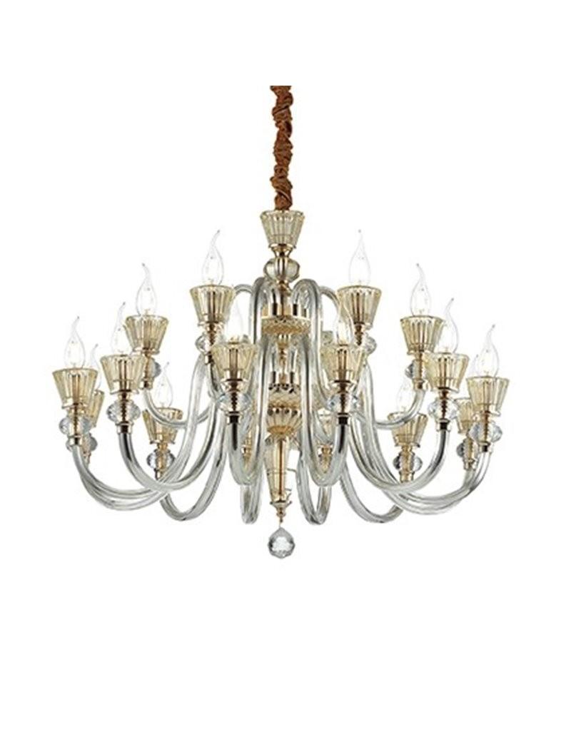 MR DESIGN: Lampadario 18 bracci in cristallo oro e rosa per soggiorno in offerta