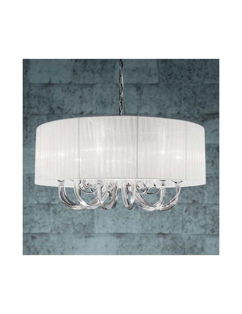 Lampada a sospensione cristallo con paralume organza bianco 6 luci