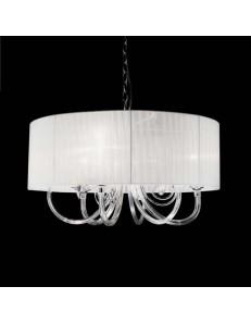 ONDALUCE: Lampada a sospensione cristallo con paralume organza bianco 3 luci in offerta