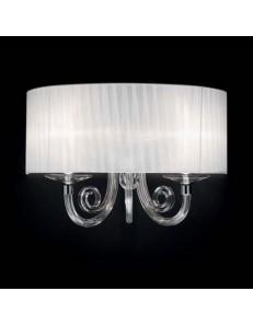 ONDALUCE: Lampada a parete applique cristallo con paralume organza bianco camera in offerta