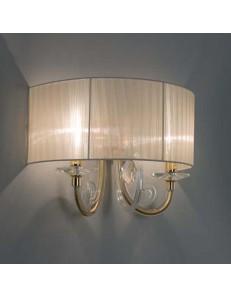 ONDALUCE: Lampada a parete applique cristallo oro trasparente paralume organza ambra in offerta