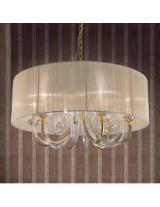 ONDALUCE: Lampada a sospensione cristallo oro trasparente paralume organza ambra in offerta