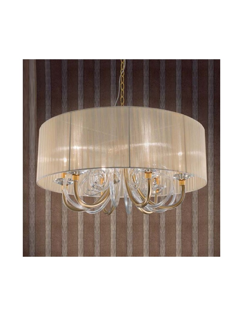 Lampadari A Sospensione Cristallo.Lampada A Sospensione Cristallo Oro Trasparente Paralume Organza Ambra
