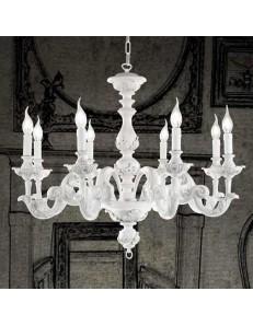 ONDALUCE: Agata lampadario sospensione legno bianco classico 8 luci in offerta
