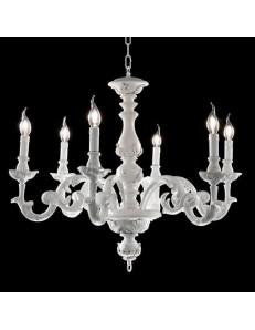ONDALUCE: Agata lampadario sospensione legno bianco classico 6 luci in offerta