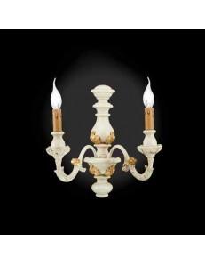 ONDALUCE: Agata lampada applique parete avorio oro classico 2 luci in offerta