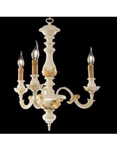 ONDALUCE: Agata lampadario sospensione legno avorio oro classico 3 luci in offerta