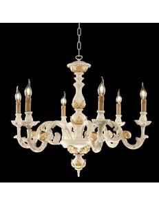 ONDALUCE: Agata lampadario sospensione legno avorio oro classico 6 luci in offerta