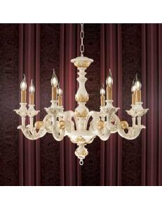 ONDALUCE: Agata lampadario sospensione legno avorio oro classico 8 luci in offerta