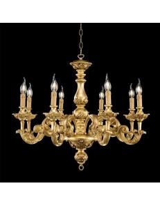 ONDALUCE: Agata lampadario sospensione legno oro classico 8 luci in offerta