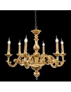 ONDALUCE: Agata lampadario sospensione legno oro classico 6 luci in offerta