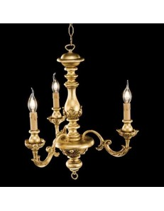ONDALUCE: Agata lampadario sospensione legno oro classico 3 luci in offerta
