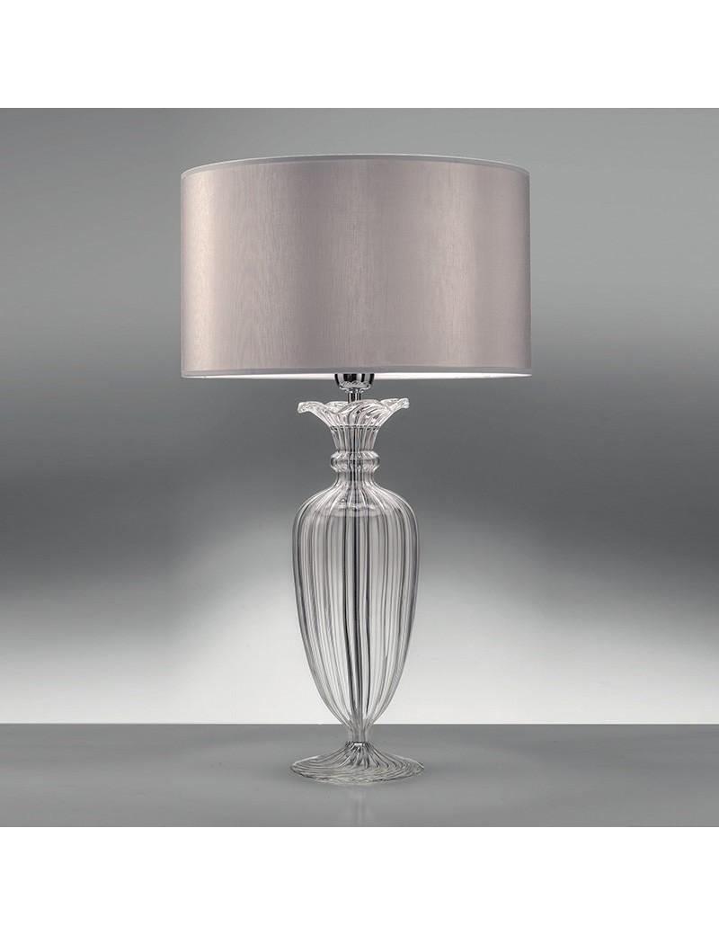 Clivia Elegante Lampada Da Tavolo Grande Paralume Tessuto Ambra Vetro