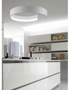 ONDALUCE: Sospensione LED metallo anello bianco regolabile in offerta