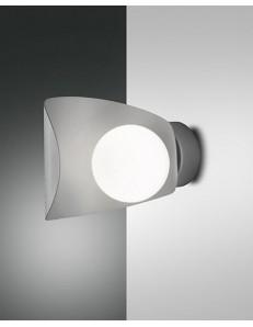 Adria applique moderna sferica con lasta curva in metallo silver led 6 w cucina camera