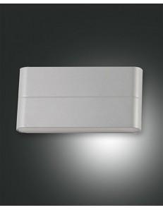 Casper applique alluminio rettangolare bombata lati led 14 w argento 1300 lumen