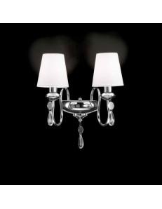 APPLIQUE LAMPADA PARETE metallo cromato 2 luci paralume tessuto bianco GOCCE